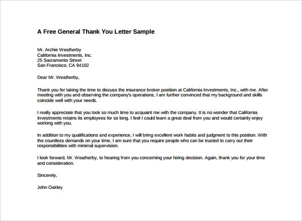 formal thank you letter sample