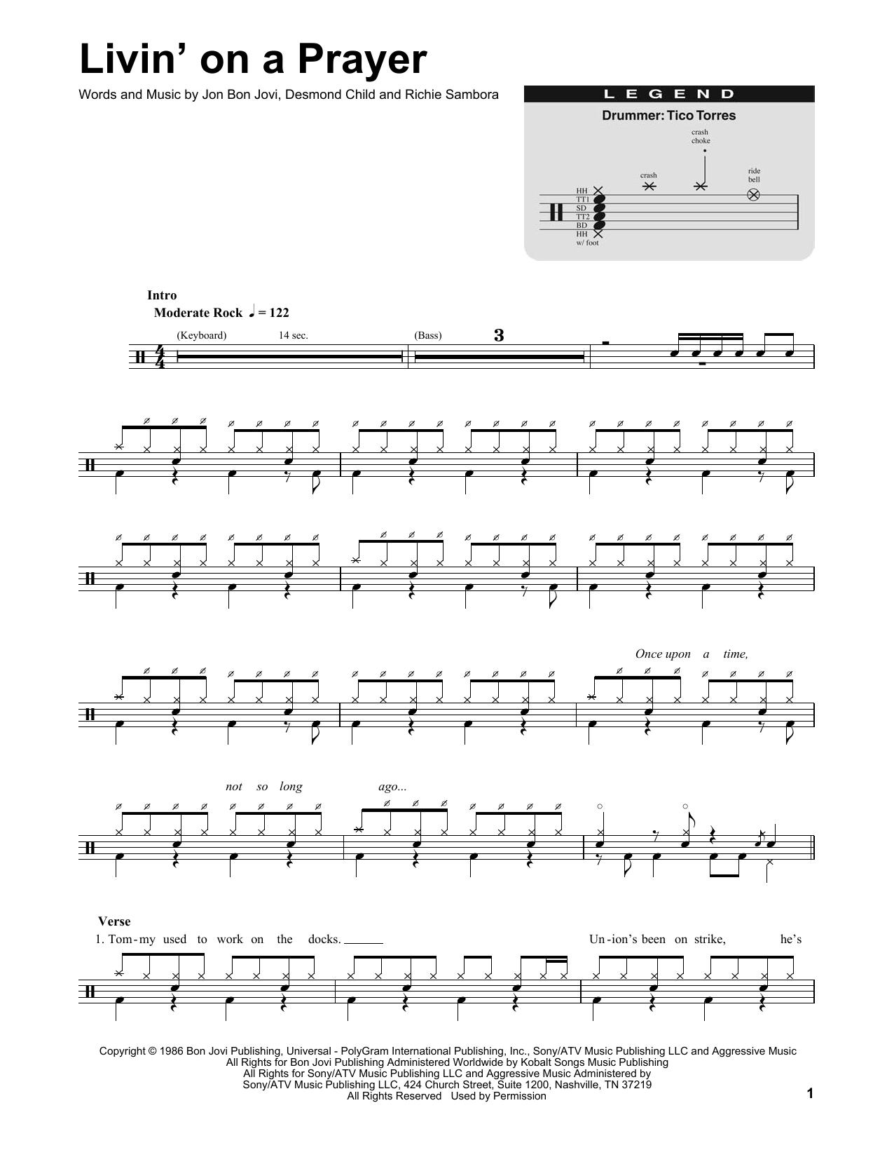 livin on a prayer tab pdf