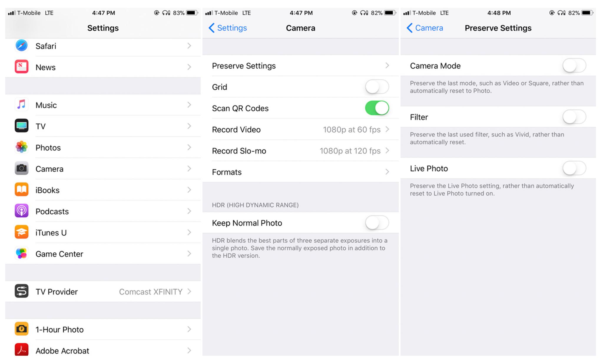 manual camera settings iphone
