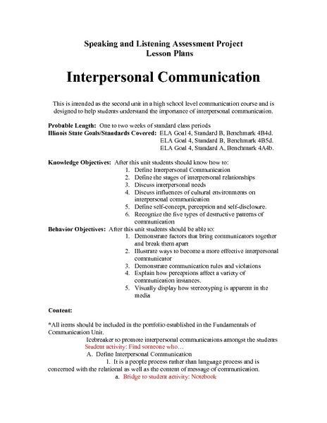 inz outline of relationship sample