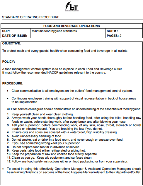food safety standards pdf