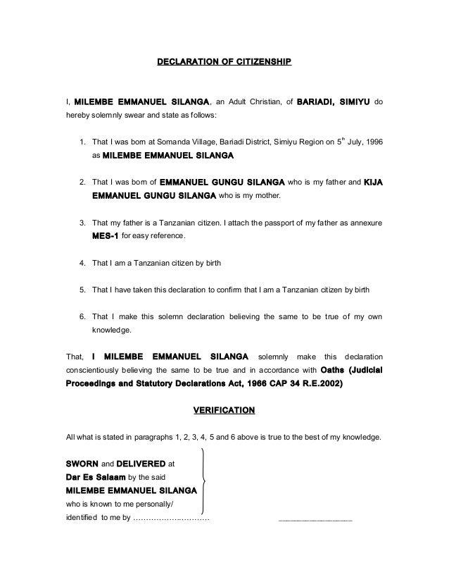 free sample statutory declaration letter