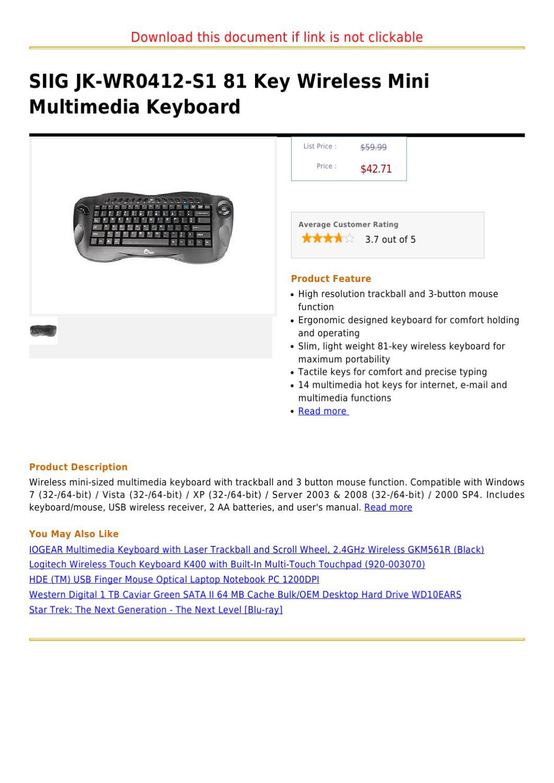 logitech k400 keyboard manual