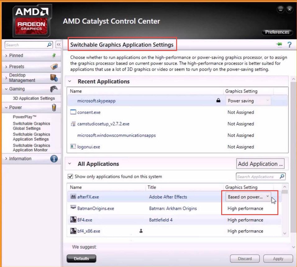 enhance application settings amd