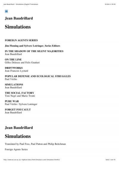 jean baudrillard simulations 1983 pdf