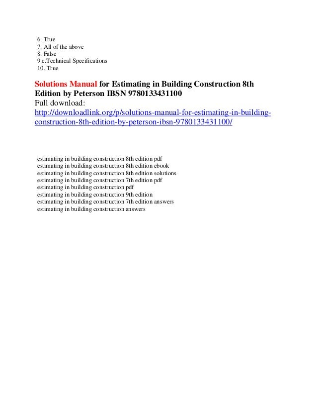 estimating in building construction pdf