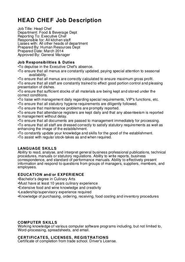 head chef resume sample