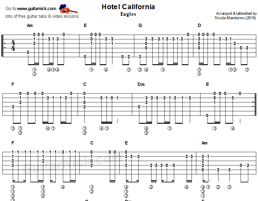 hotel california guitar tab pdf