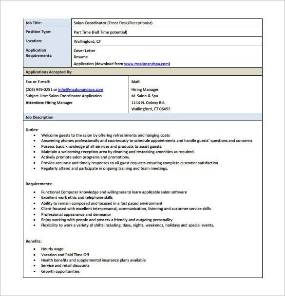 hotel receptionist job description pdf