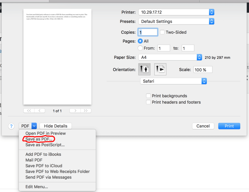 how to save pdf from print preview mac