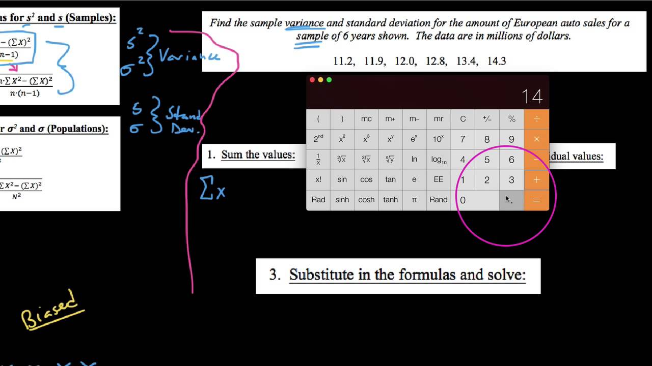 how to work out sample variance