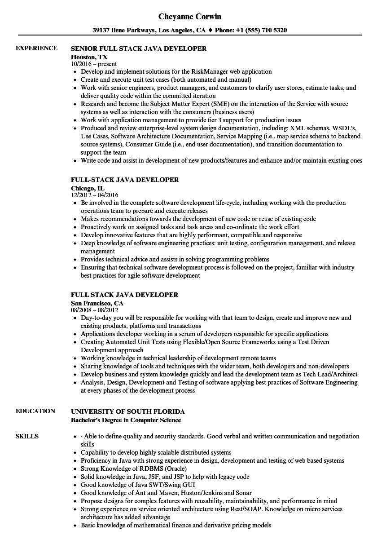 java developer resume sample