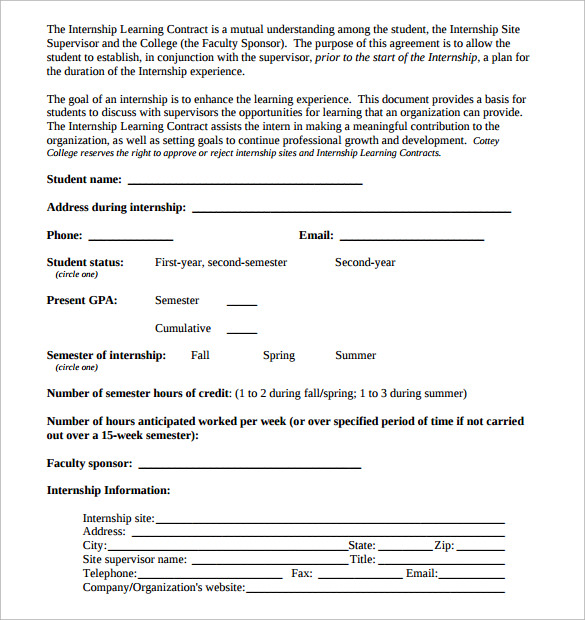 learning contract sample